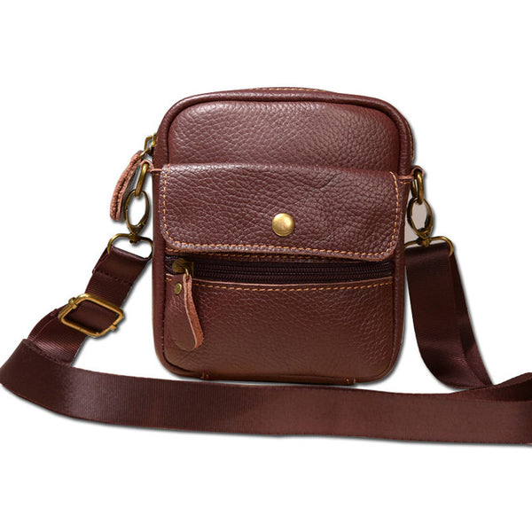 Vintage Genuine Leather Multi-function Mini Shoulder Bag Waist Belt Bags