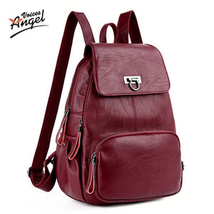 Women's backpacks Genuine Leather school bags teenagers girls travel bag mochila bolsas femininas