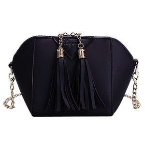 Women small leather handbag Tassel cross body messenger chains shoulder bags bolsa feminina#6M