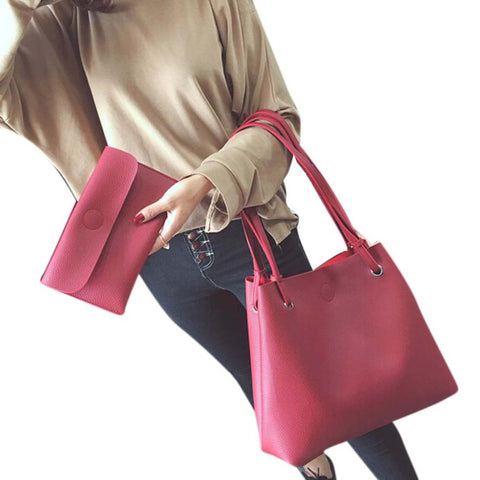 SPECIAL OFFER: 2 Pcs Leather Litchi Stria Single Shoulder Bag+Clutch Bag bolsa feminina