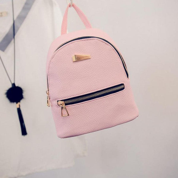 Fashion Women's Backpack, New Zipper Solid Double Shoulder Bags, Travel Small School Rucksack