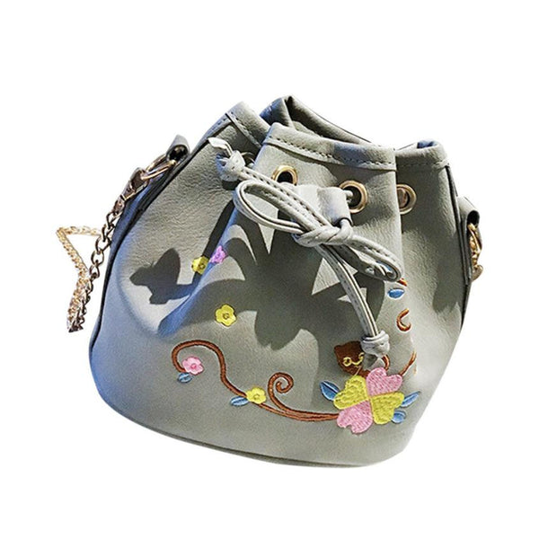 Women high quality embroidery printing Leather Bucket Crossbody Shoulder Messenger Bag #6M