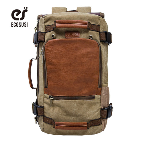 ECOSUSI Brand Men's Backpack, Canvas School Backpacks, Travel Backpacks, Laptop Shoulder Bags