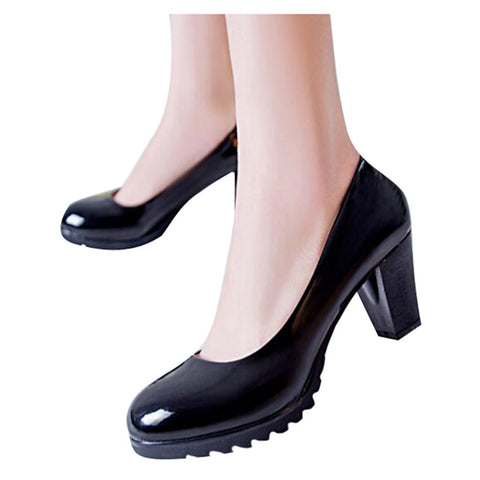 Pumps Classics Solid Black Candy Color PU Leather Square Heel Slip-ons Shoes Size 35-40