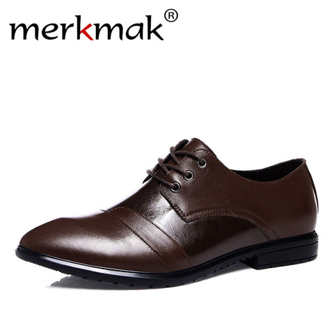 Fashion Brand 100% Genuine Leather Luxury Business Flat Shoes Classic Formal Oxfords Shoes for Gents