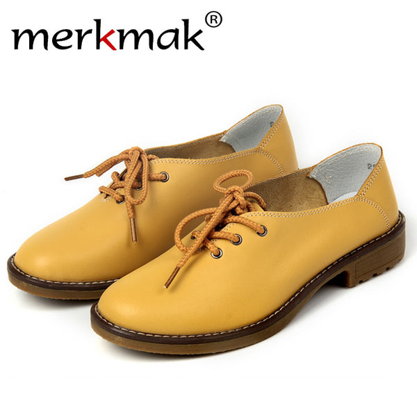 Merkmak Fashion Shoes Women Genuine Leather Leisure Platform Soft Wedge Flats Moccasins Zapatos