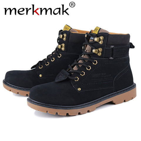Mermak Women Shoes Fashion Unisex Autumn Winter Warm Casual Leather Waterproof Martin Flat Boots
