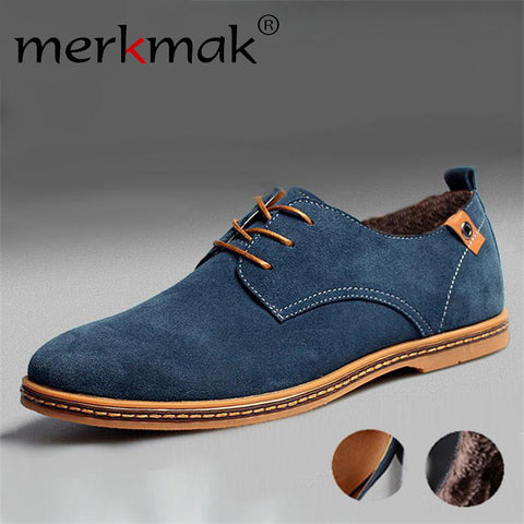 Merkmak Genuine Leather Fashion Business Wedding Flats Suede Shoes Moccasin Loafer Formal Shoes