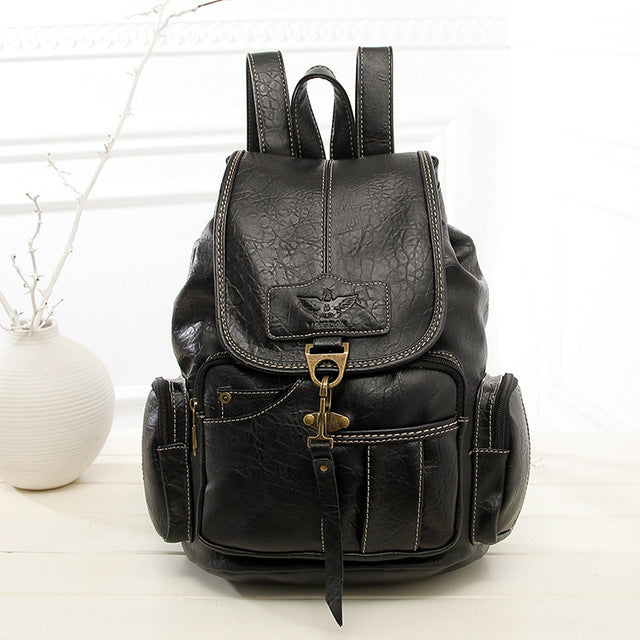 Vintage Women High Quality PU Leather Backpack for Teenage Girls Fashion Large Bag XA658H
