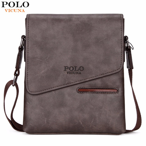 VICUNA POLO Vintage Frosted Leather Messenger Business Shoulder Bag Front Pocket Handbag
