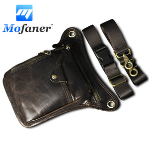 LIMITED STOCK: Mofaner Men Genuine Leather Motocycle Hiking Hip Bum Pack Waist Leg Bag