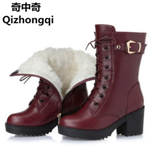 Genuine Leather Winter boots, thick wool warm Martin boots, high-quality snow boots