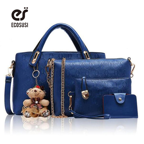 ECOSUSI  4 Pc/Set Composite Bags, Pu Leather Handbag, Messenger Bags, Clutch/Shoulder/Card Bags