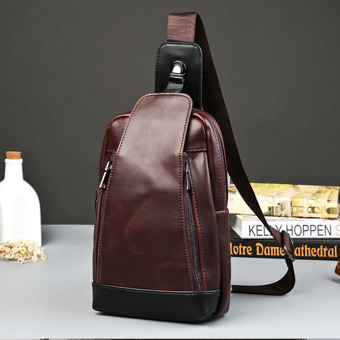 New Korean male fashion bag retro small chest bag all-match casual men crazy horse leather bag