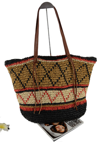 New Arrival Women National Ethnic Design Floral Straw Shoulder Bag, Tote Messenger Bag, Beach Bag