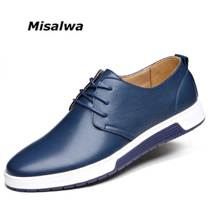 SPECIAL OFFER: Misalwa New Men Casual Shoes Leather Luxury Brand Comfortable Flat Shoes Men