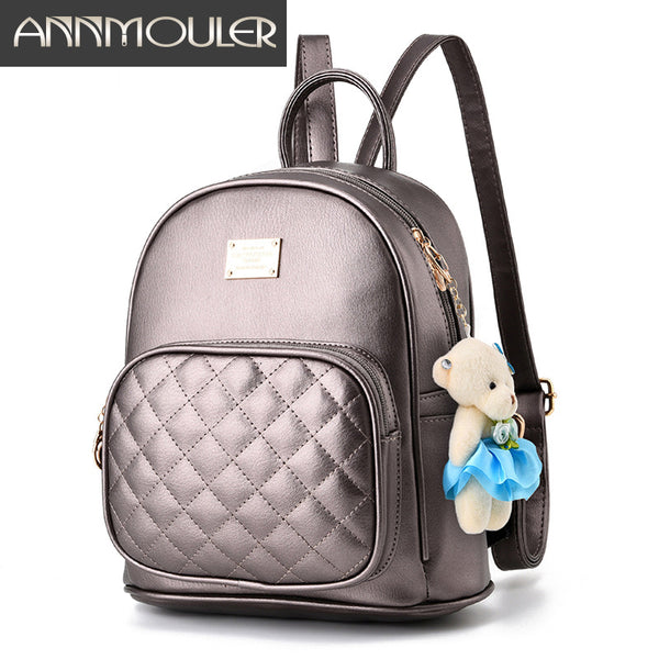 Annmouler Famous Brand Pu Leather Backpacks, Vintage School Book Bags, Shoulder Bagpacks