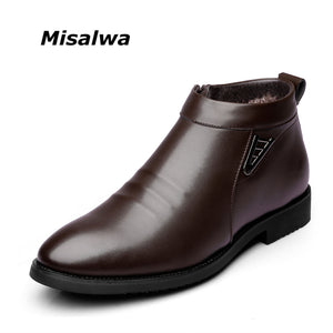 Misalwa Winter Warm Roam Boots Zipper Casual Snow Boots Plush Business Style Shoes