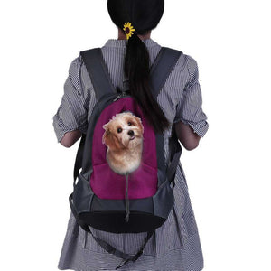 Unisex Pet Dog Carrier Travel Bag Head Out Type Adjustable Double Shoulder Strap Animal Mesh Bag