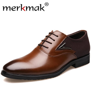 Merkmak Big Size 38-48 New Fashion Wedding Black Brown Oxfords Business British Lace-up Flat Shoes