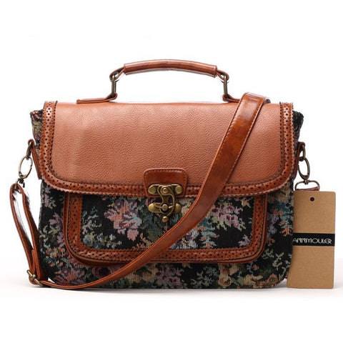 Designer's Fashion Retro Patchwork Floral Print Handbags Shoulder Crossbody Briefcase Bag