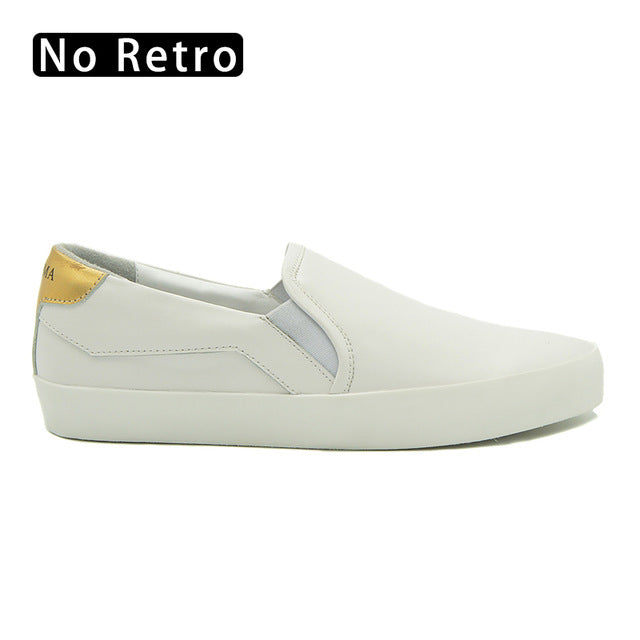 CANGMA Italy Marque Flats Big Size White Genuine Leather Luxury Slip On Casual Sneakers