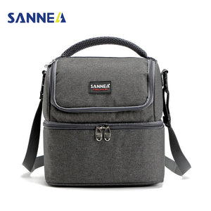 SANNE 7L Double Decker Cooler/Lunch Bags Insulated Solid Thermal Picnic Bag, Tote Handbags