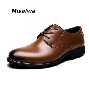 Misalwa Big Size 6-12 Business Genuine Leather Lace-up Classic Wedding Formal Shoes