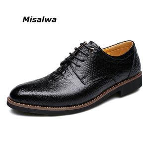 Misalwa Crocodile Pattern Men Luxury Dress Shoes Men Business Shoes Formal Shoes