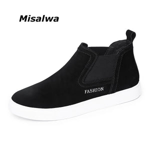 Misalwa 2018 Winter/Spring Snow Chelsea Boots Cow Suede Big Size 36-48 Ankle Boots Casual Shoes
