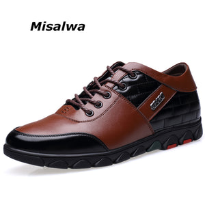 Misalwa Height Increasing Elevator Leather Casual Functional Shoes Men Oxfords