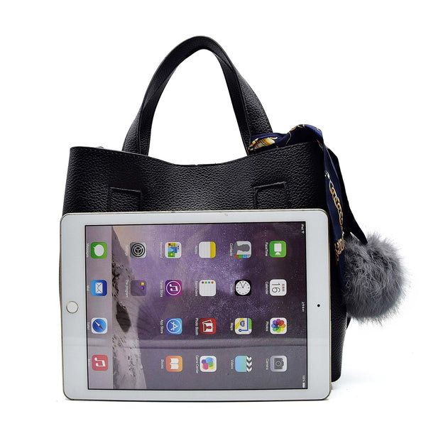 LIMITED STOCK: New Purse Scarf Top Handle Tote Bag with Fur Ball Crossbody Bag, Shoulder Bag