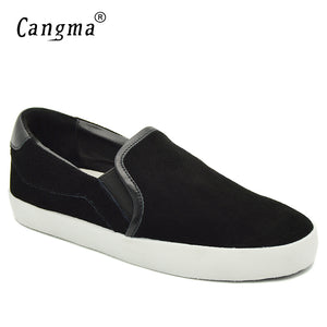 CANGMA Italy Loafer Slip On Black Cow Suede Marque Genuine Leather Casual Leisure Sneakers