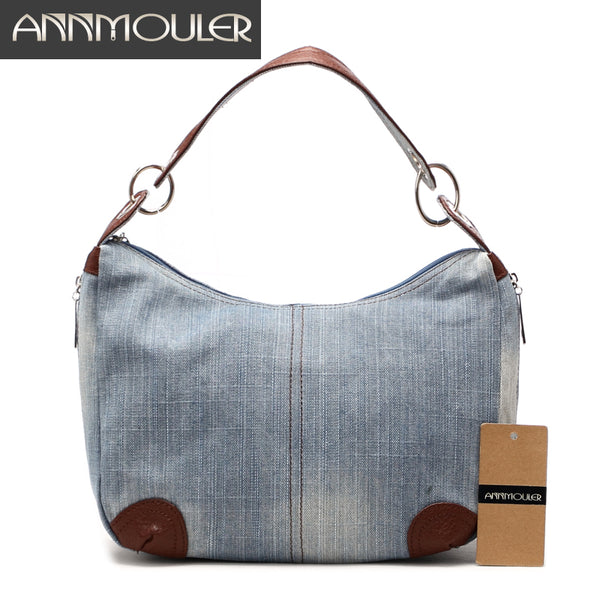 Annmouler Brand New Large Capacity High Quality Adjustable Jeans Handbags Shoulder Crossbody Bag