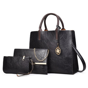 SPECIAL OFFER: TTOU Vintage PU Fashion Large Capacity Crossbody Bag 3 Sets Handbag+Small Purse