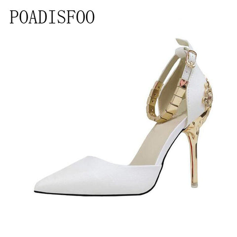 Fine Pump with high-heel shallow mouth pointed hollow carved metal with chain wood formal shoes