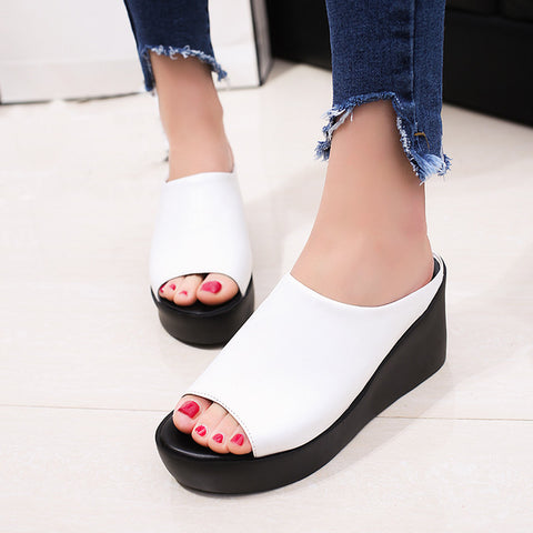 Women Summer Fashion Leisure Fish Mouth Sandals, Thick Bottom Slippers