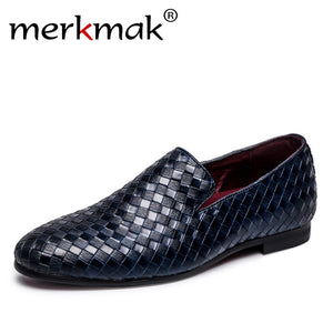 Merkmak 2018 Men's Luxury Brand Braid Leather Casual Driving Oxfords Shoes, Loafers Italian Shoes