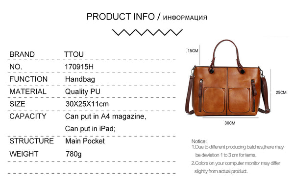 TTOU Fashion Vintage Pu Leather High Quality Handbags, Shoulder Bag, Tote Bags