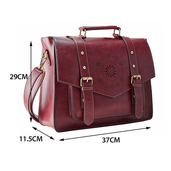 ECOSUSI New Women PU Leather Handbag High Quality Retro Messenger Bags, Leather Briefcase