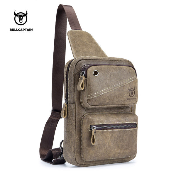LIMITED STOCK: BULL CAPTAIN Brand High Quality Genuine Leather Chest Bags, Clasp Crossbody Bags