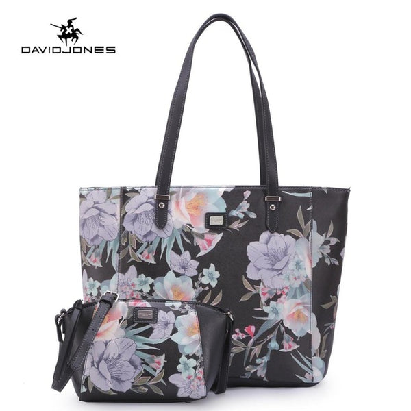 LIMITED STOCK: DAVIDJONES PU Leather Floral Composite Bags, Crossbody, Messenger Tote Bags