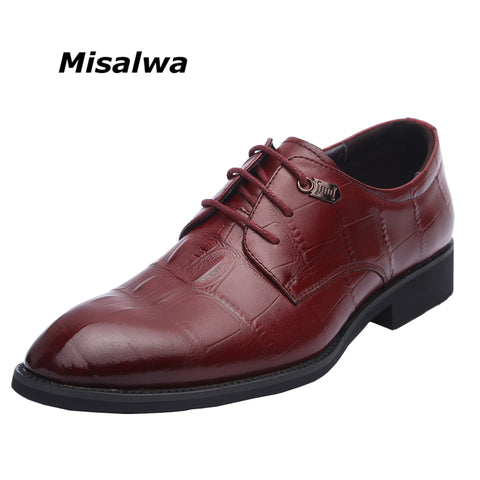 SPECIAL OFFER: Misalwa 100% Genuine Cow Leather Wedding Shoes, Men Formal Luxury Oxfords