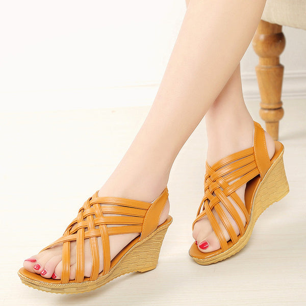 Women's Open Toe Platform Summer Shoes, Wedge Sandals, Gladiator Ladies Shoes