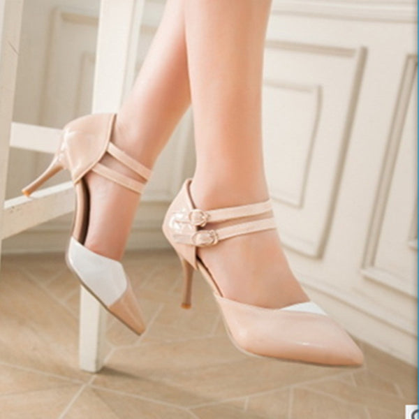 Lady's Thin High heels pointed toe pumps Stilettos Zapato Double Buckle