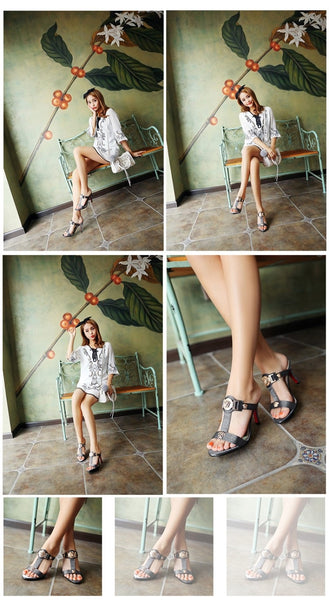 Woman Pumps Thin Heels With Sequined Sexy Shoe Larger Size 4 43 39 42 Slides Ephemeral