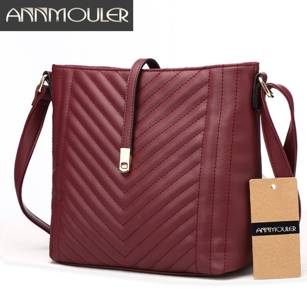 Annmouler Brand Fashion PU Leather Shoulder Bags, Crossbody Bags, Small Zipper Handbags
