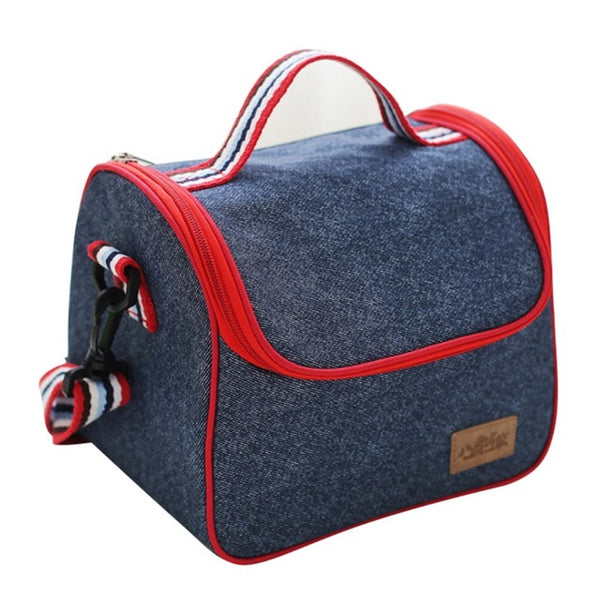 Portable Oxford Travel Picnic Insulated Thermal Lunch Bag, Outdoor Organizer Tote Shoulder Bag