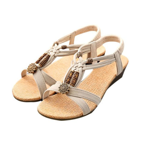 Women's Casual Peep-toe Flat Buckle Shoes, Roman Summer Sandals