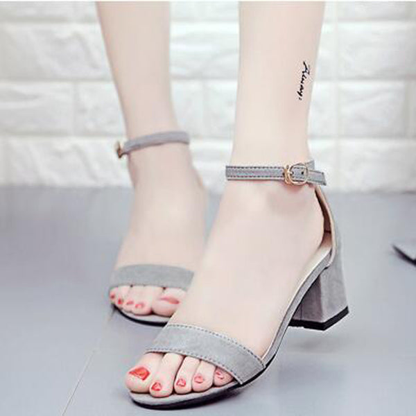 Women Single Band Chunky Heel Sandal, With Ankle Strap Summer Sandals